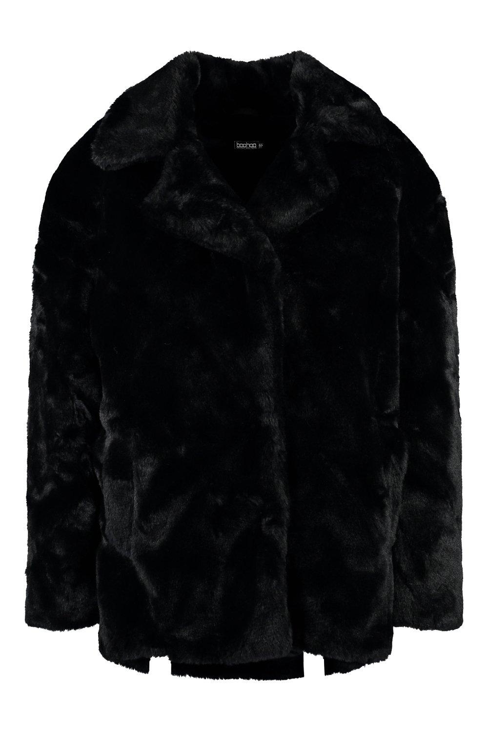 Fur black Oversized Coat Faux Luxe Collar Petite pPTqwvIv