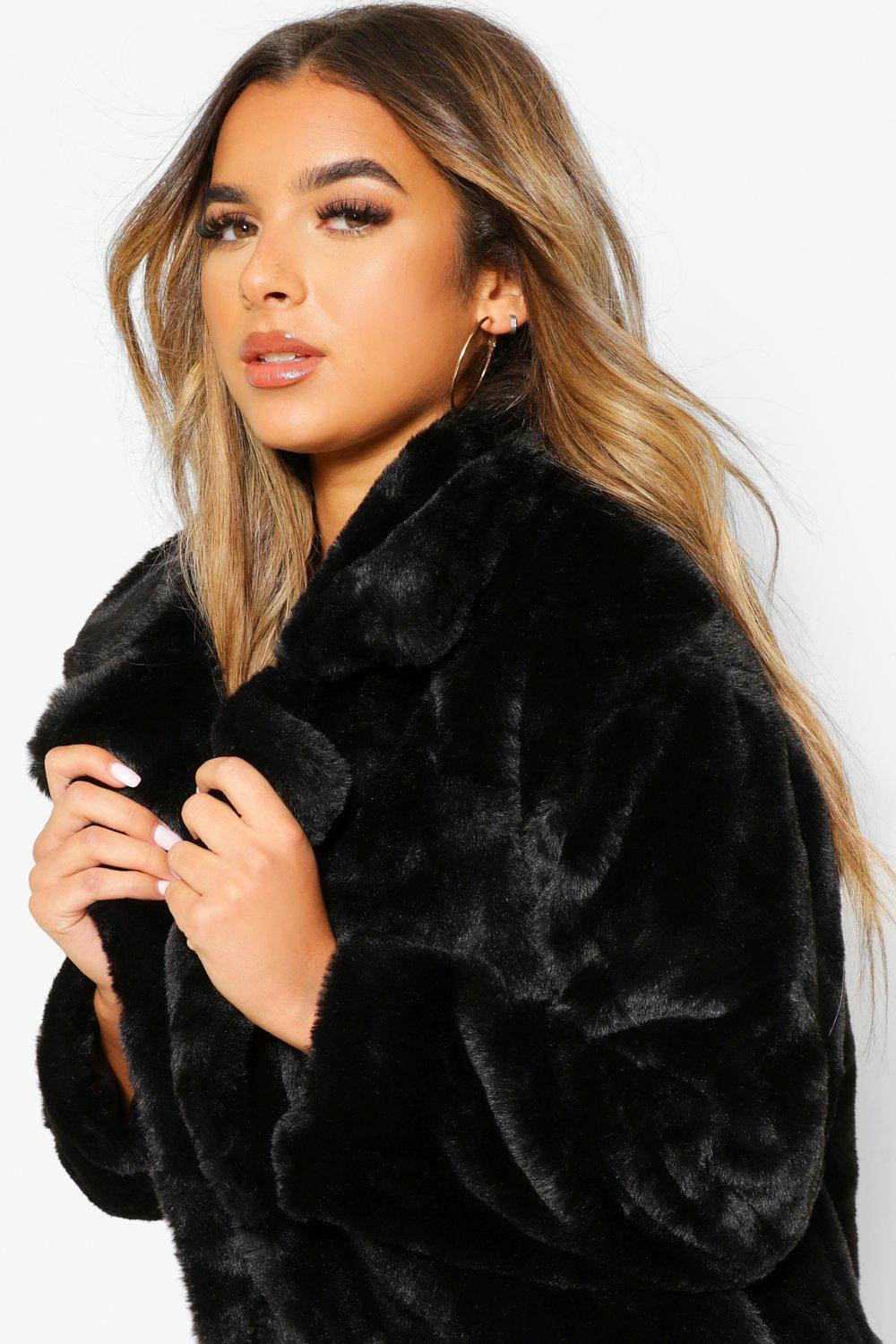 Petite Collar Luxe Coat Oversized Faux black Fur 11Frav6O