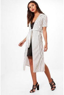 Womens White Petite Emily Stripe Belted Duster Jacket