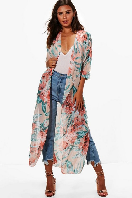 Womens Multi Petite Emma Bright Floral Duster Jacket
