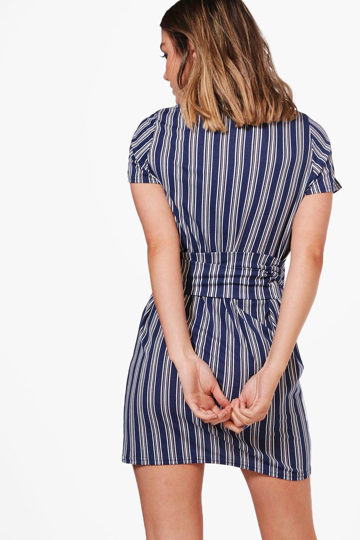 45f65d87f16d Womens Multi Petite Stripe Tie Waist Shift Dress. Hover to zoom. Close video