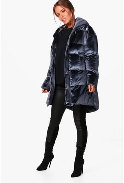 Womens Midnight Petite Velvet Padded Coat