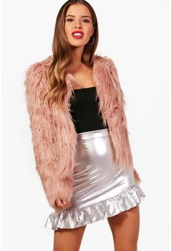 Womens Dusky pink Petite  Edge To Edge Mongolian Faux Fur Coat