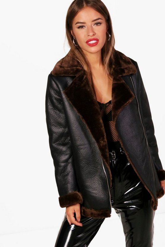 Womens Black Petite Beth Faux Fur Lined Luxe Aviator Coat