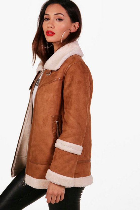 Womens Tan Petite Faux Fur Lined Suedette Coat
