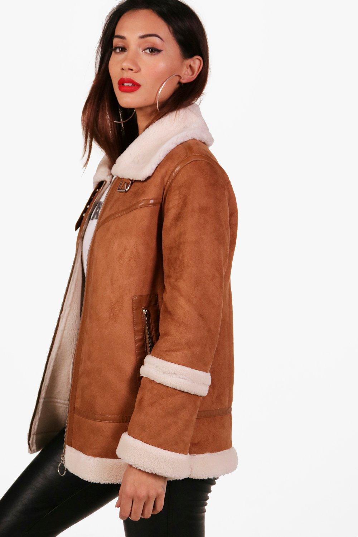 tan Suedette Coat Fur Lined Faux Petite w6PTTq