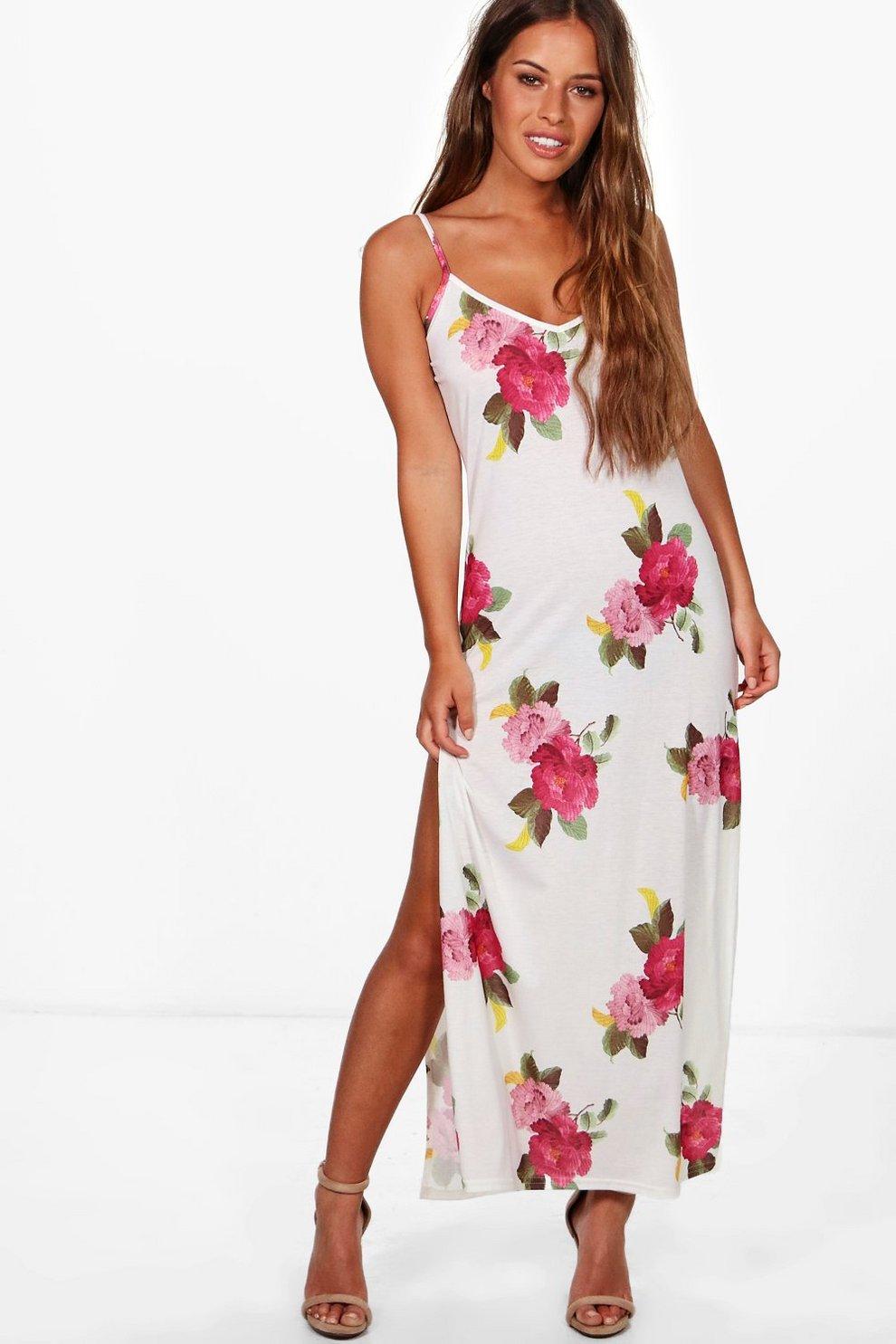 89e7faea1f8 Petite Harriet Floral Tie Strap Maxi Dress