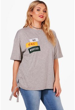Womens Grey Plus Holly Slogan Side Tie Tee