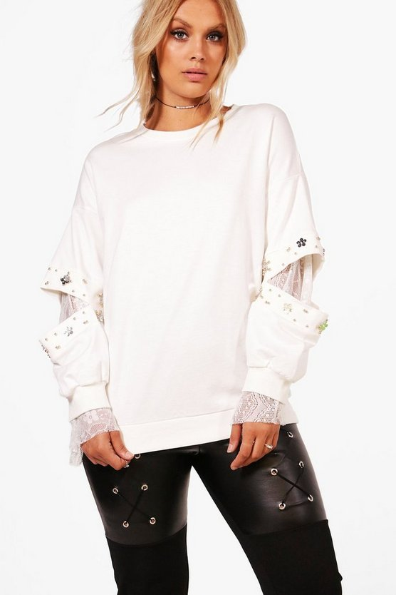 Plus Olivia Embellished And Lace Detail Sweat Top