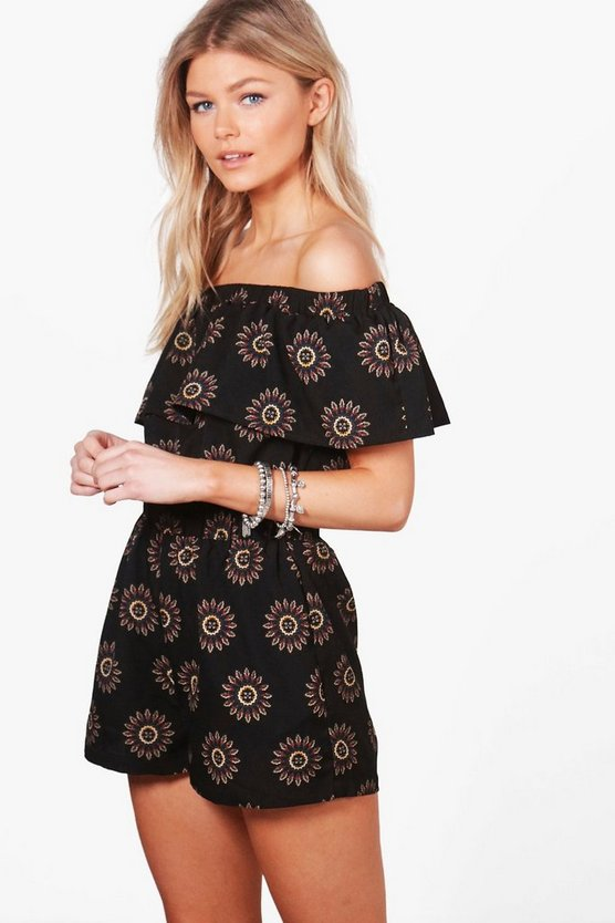Petite Bella Printed Oversized Frill Playsuit