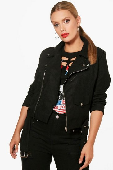 Womens Black Plus  Belted Suedette Jacket