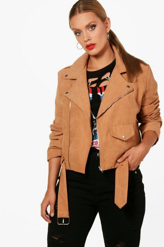 Womens Camel Plus  Belted Suedette Jacket