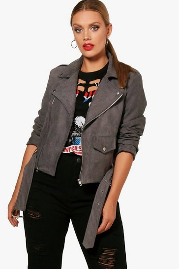 Womens Grey Plus  Belted Suedette Jacket