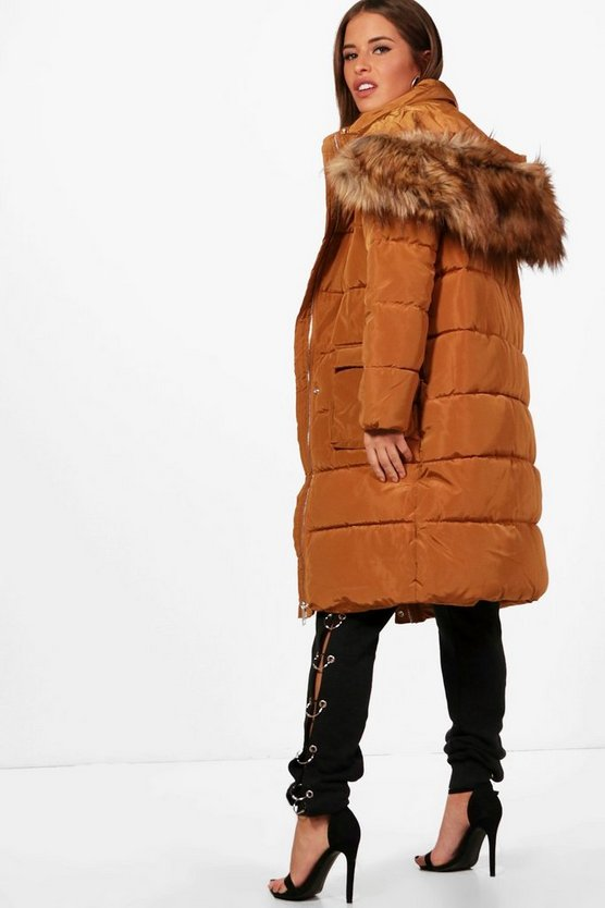 Womens Rust Petite Longline Padded Coat