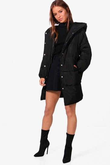 Womens Black Petite Hooded Dip Back Padded Coat