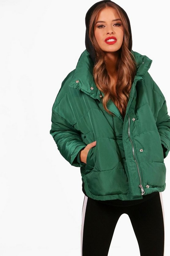 Womens Bottle green Petite Padded Coat
