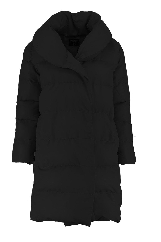 black Petite Padded Front Longline Tie Coat 6TzY6B