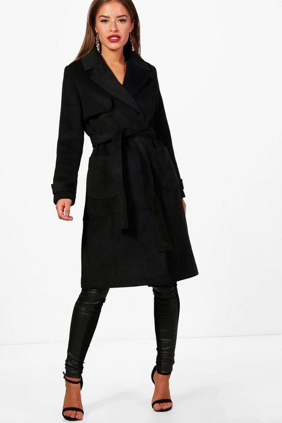 Petite Military Style Wool Look Trench