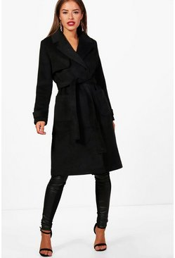 Womens Black Petite Military Style Wool Look Trench