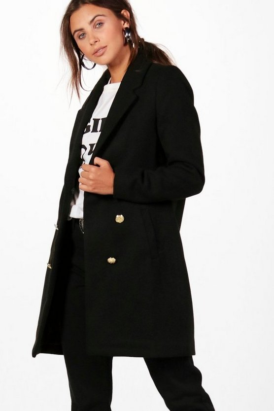 Womens Black Petite Double Breasted Military Duster Coat