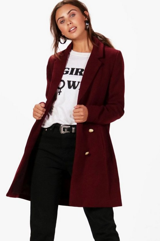 Womens Burgundy Petite  Double Breasted Military Duster Coat