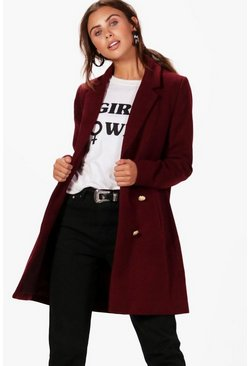 Burgundy Petite  Double Breasted Military Duster Coat