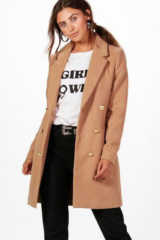 Womens Camel Petite Double Breasted Military Duster Coat
