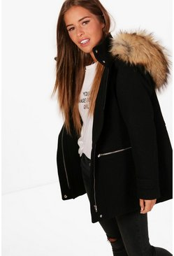 Petite Wool Fitted Parka, Black, Donna