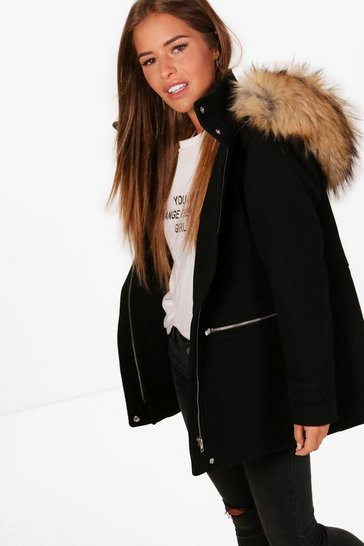Womens Black Petite Wool Fitted Parka