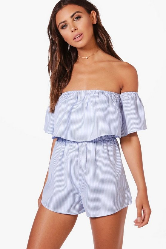 Petite Summer Frill Sleeve Off The Shoulder Playsuit