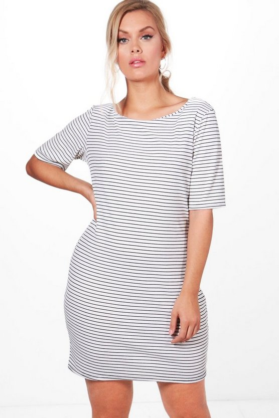 Plus Alicia Ribbed Stripe Bodycon Dress