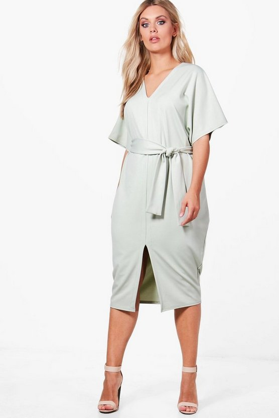 Plus Molly Tailored Belted Tie Waist Midi Dress