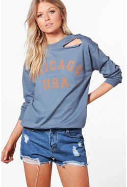 Womens Blue Petite Maisie Distressed Oversized Slogan Sweat