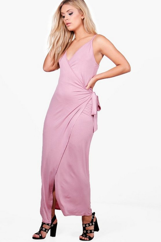 Plus Clara Wrap Front Strappy Maxi Dress
