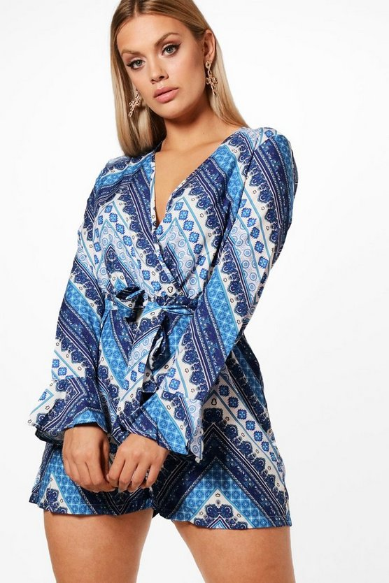 Plus Natalia Printed Woven Playsuit