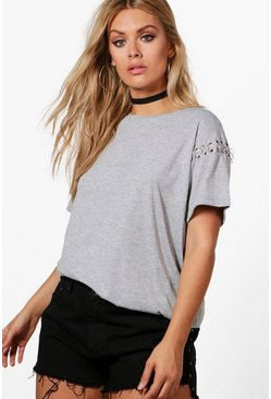 Womens Grey Plus Felicity Eyelet Shoulder Tee