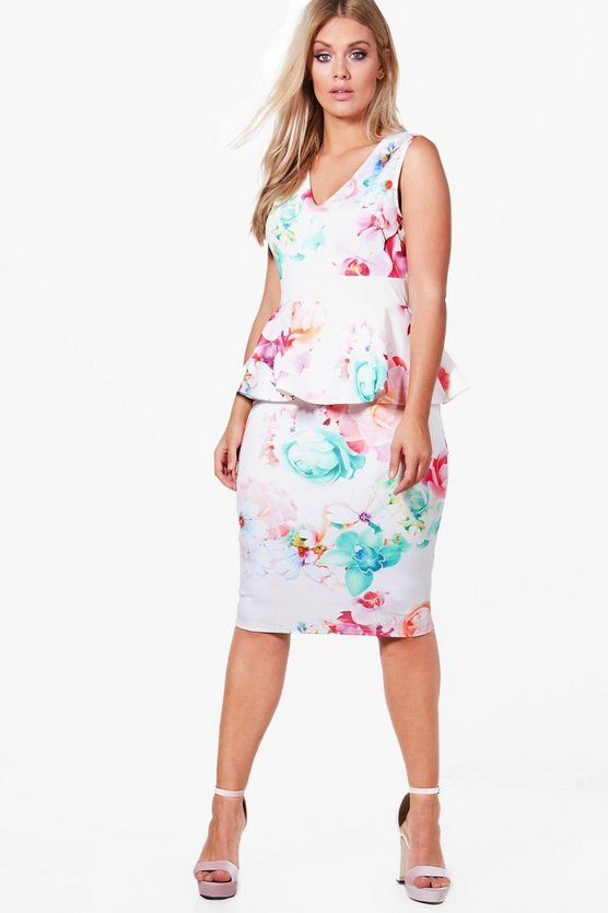 Plus Sara Midi Floral Deep V Peplum Dress