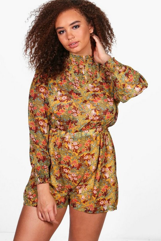 Plus Cassie High Neck Floral Playsuit