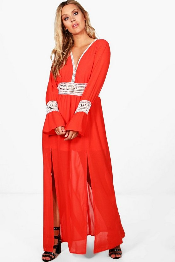 Plus Sadie Crochet Lace Insert Maxi Dress