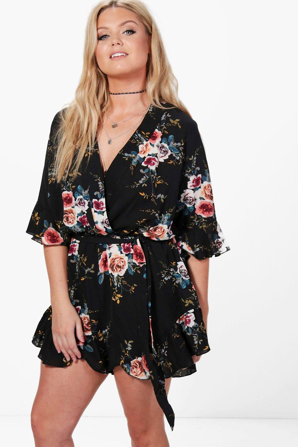 8a87687a5d Plus Ruffle Hem Floral Wrap Playsuit. Hover to zoom