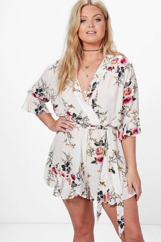 Womens Cream Plus Ruffle Hem Floral Wrap Playsuit