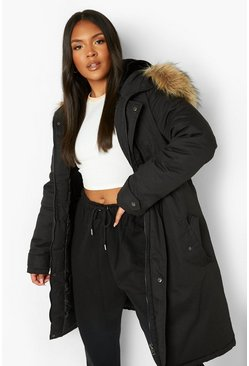 Womens Black Plus Faux Fur Trim Parka