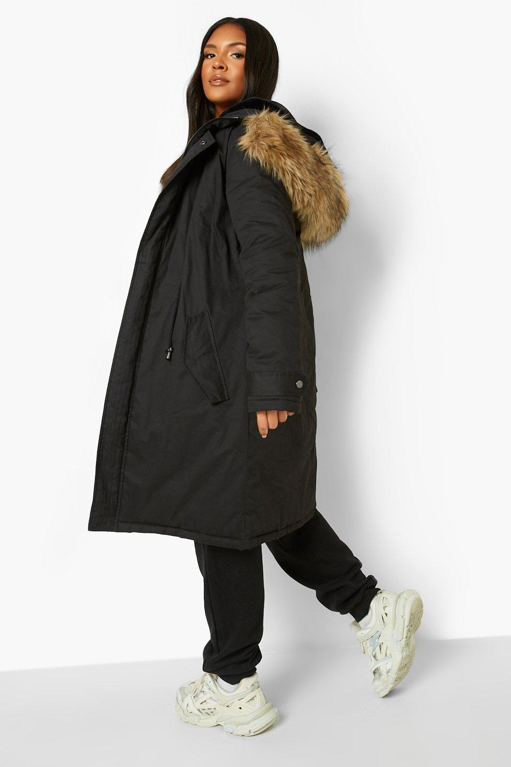 Parka Fur Faux Trim Plus black tRgOq5nxwB