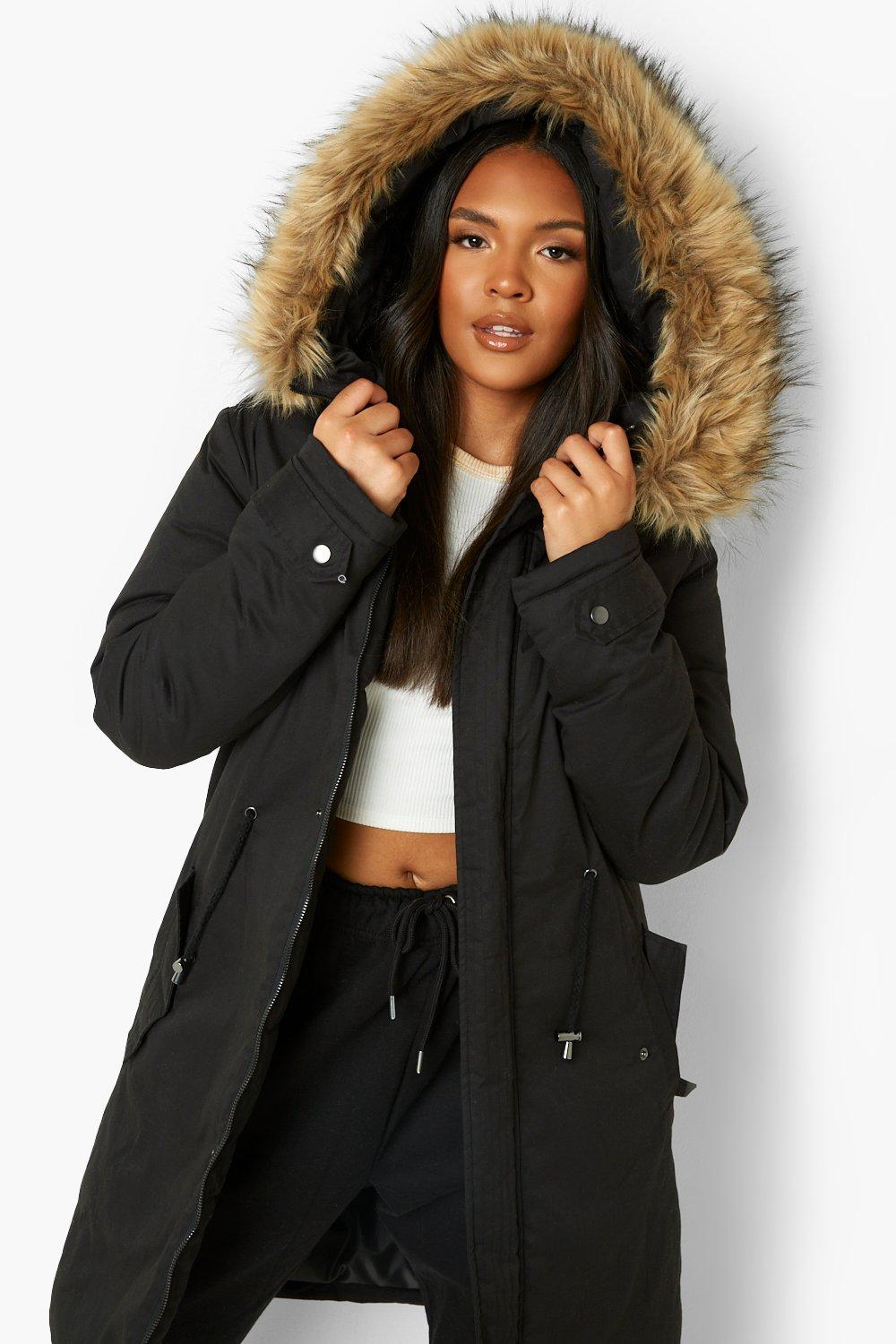 Plus Faux black Parka Fur Trim F6WqFT