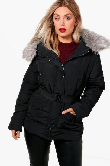 Womens Black Plus  Faux Fur Belted Padded Jacket