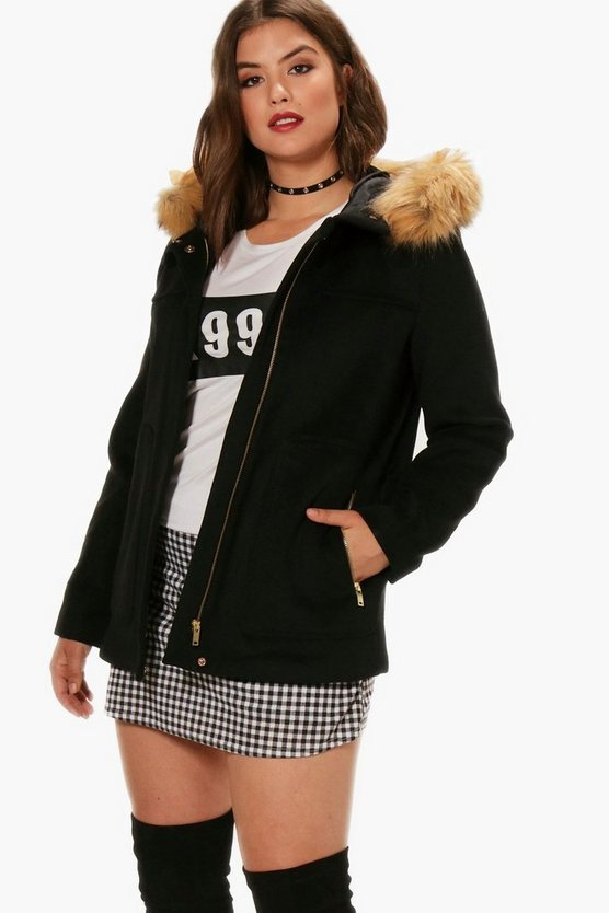 Plus Erin Faux Fur Hooded Parka