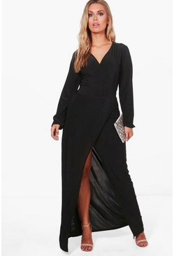 Plus Lacey Wrap Front Slinky Maxi Dress, Black, MUJER