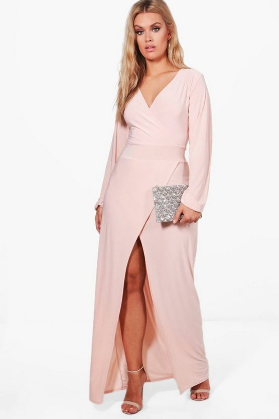 Womens Blush Plus Lacey Wrap Front Slinky Maxi Dress