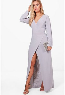 Womens Grey Plus Lacey Wrap Front Slinky Maxi Dress