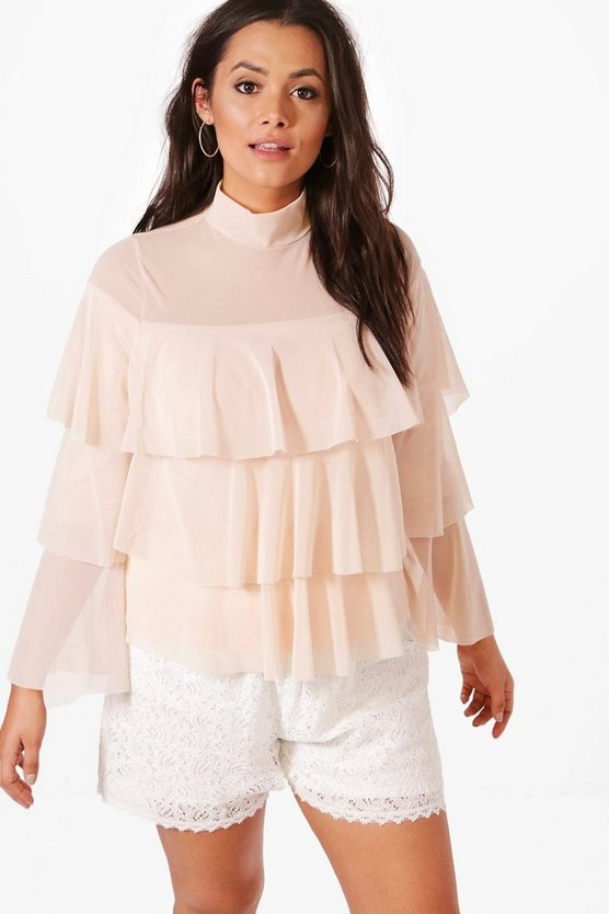 Womens Nude Plus Hope Mesh Layered Top